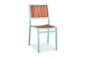 Eon GLI-AURA-CH-MARSTK-001 EON-MARITZ-SIDE CHAIR - SILVER FRAME  / EON TEAK WOOD SEAT AND BACK