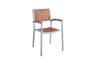 Eon GLI-AURA-CH-MARSTK-004 EON-MARITZ ARM CHAIR-SIDE CHAIR - SILVER FRAME  / EON TEAK WOOD SEAT AND BACK