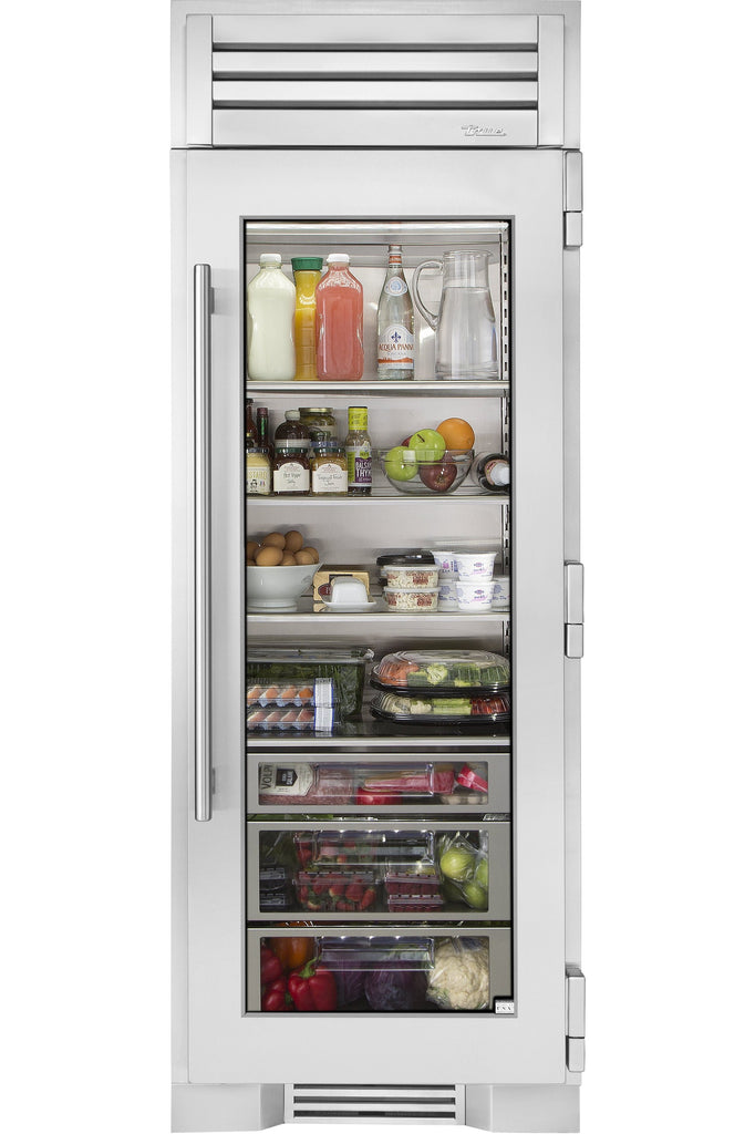 True-Residential TR-36REF-L-SG-A 36inch column - all refrigerator - stainless glass door - Hinged Left