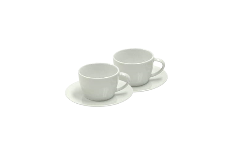 Jura 66501 White Cappuccino Cups/Saucers. Gift Box - Set of 2