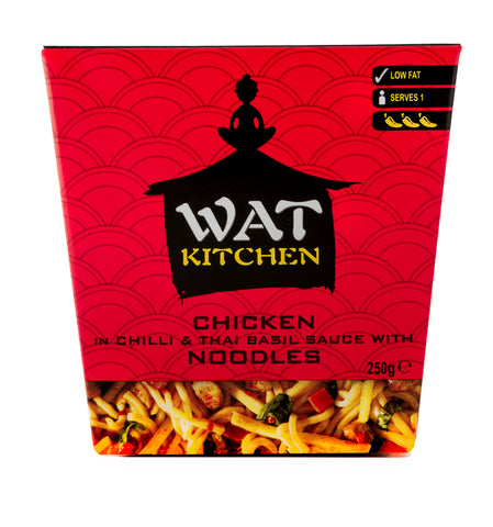 WAT KITCHEN Chicken in chilli & Thai basil sauce with noodles - Pack of 6