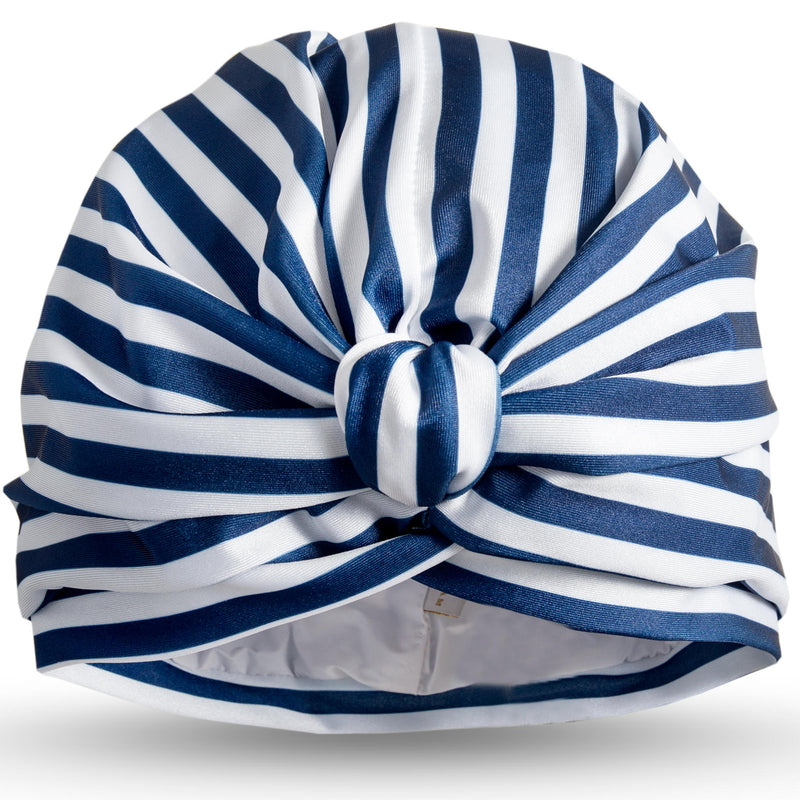 Blue and white stripe lycra pull on waterproof turban, with pretty gather and knotted at front.