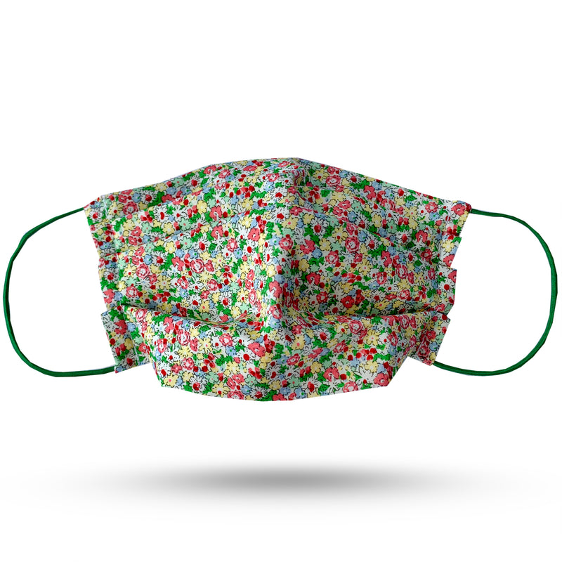Small pink, green and yellow flower print cotton pleated face mask. Green elastic cord.