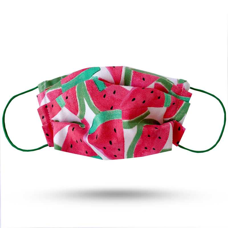 Green and red watermelon cotton print pleated face mask. Green elastic cord.