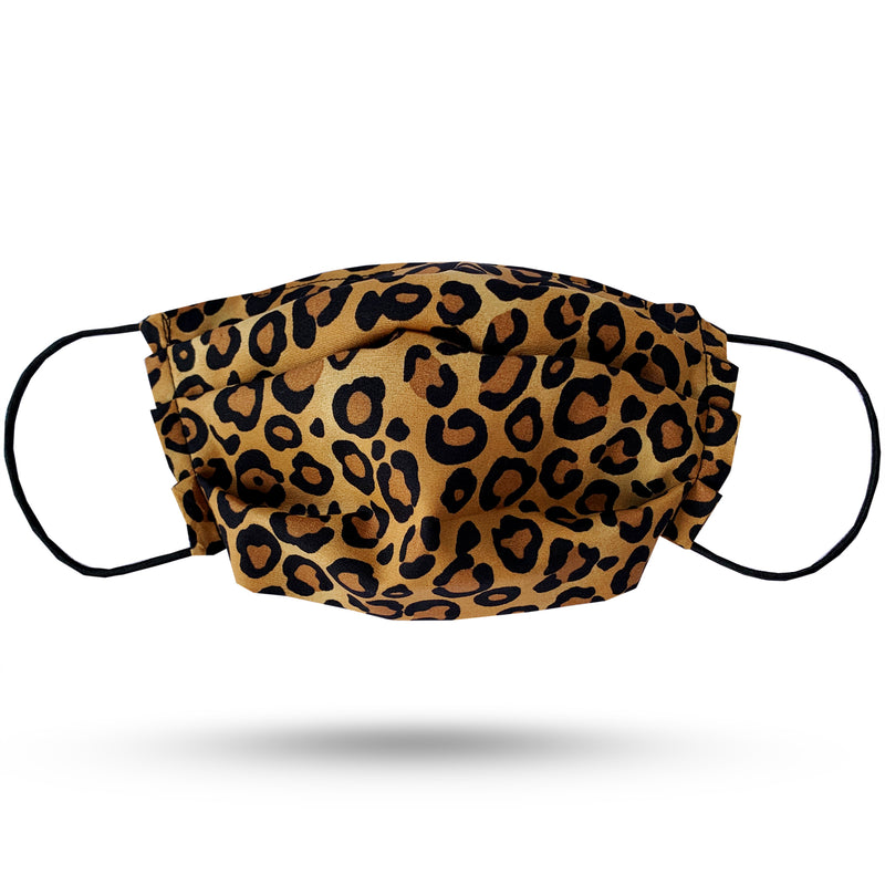Beige, brown and black leopard print cotton pleated face mask. Black elastic cord.