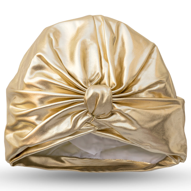 Gold lycra pull on waterproof turban, with pretty gather and knotted at front.