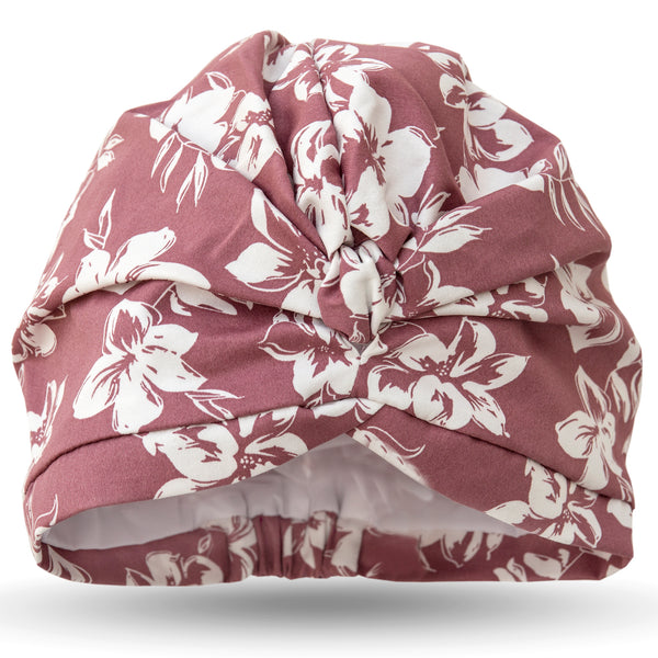 Ivory flowers on dusky rose pink cotton stretch satin pull on waterproof turban, with pretty and gather and knotted at front.