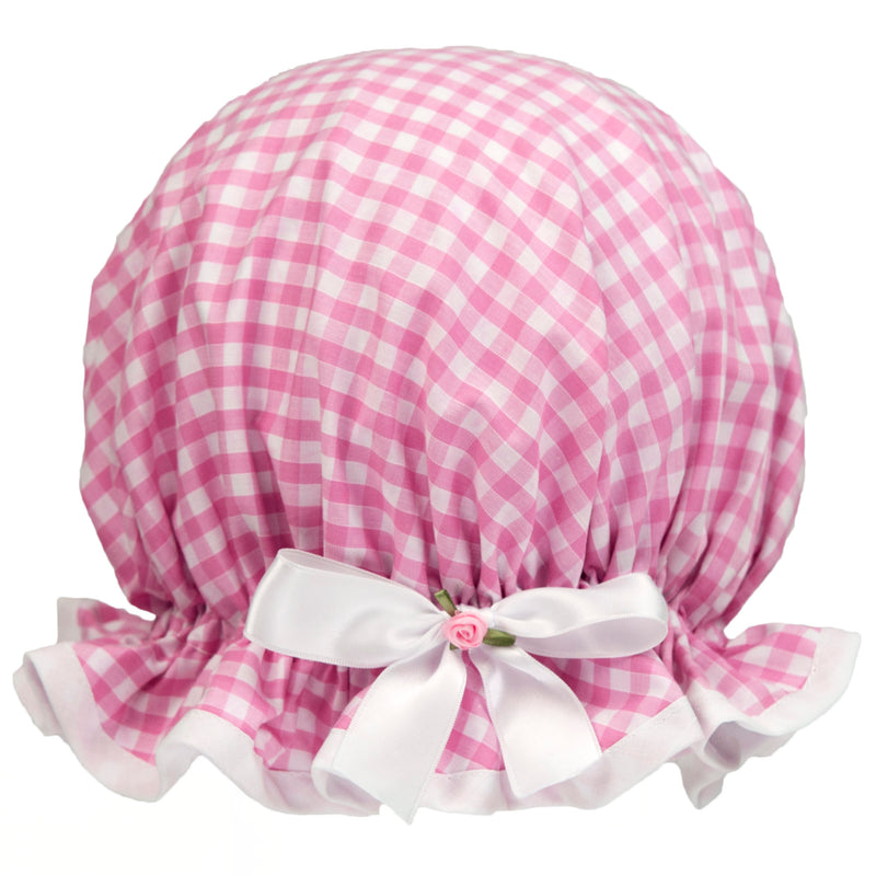 Vintage style, women's large cotton shower cap. Frilled edge, pink and white gingham print. Trimmed in white with matching satin bow and small rosebud.