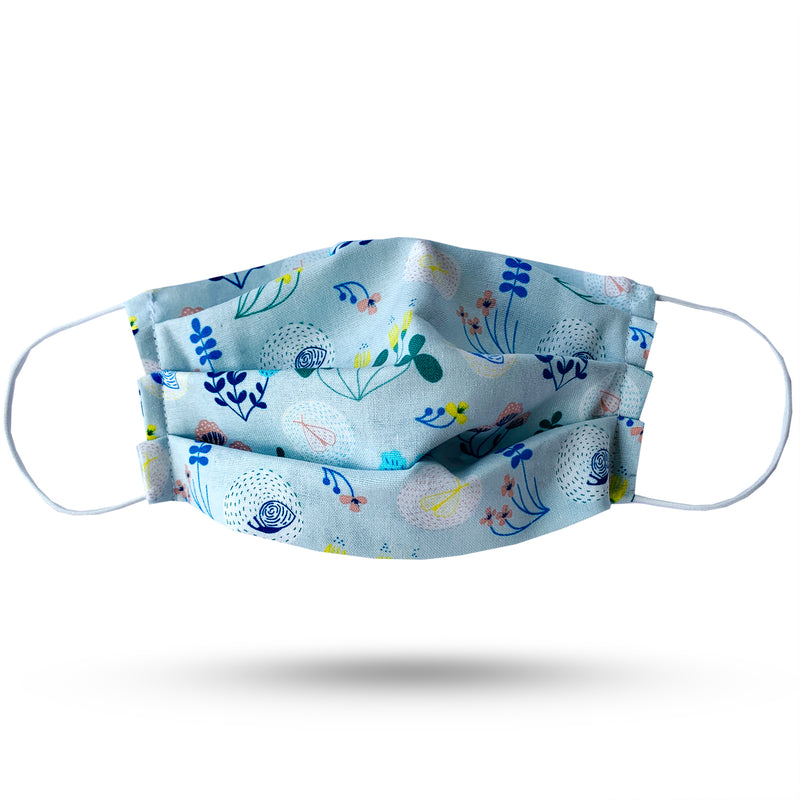 Blue, green and pink garden print pleated cotton face mask. White elastic cord.