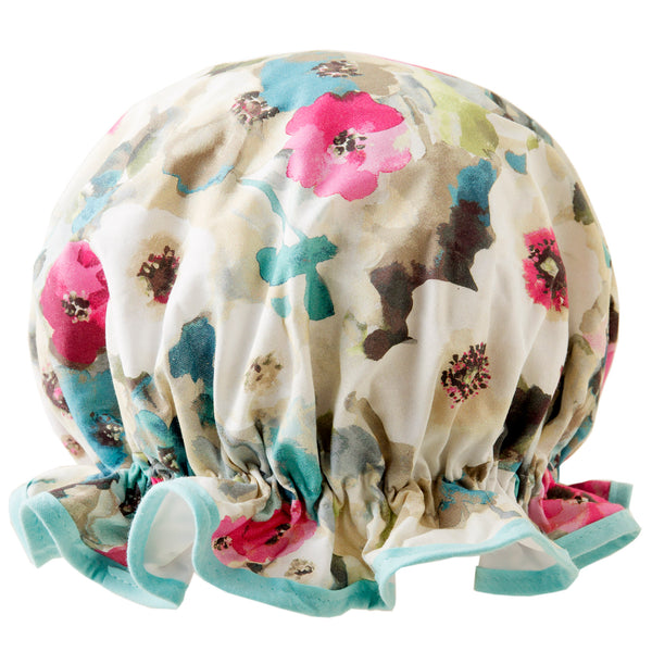 Vintage style, women's large cotton shower cap. Frilled edge, soft pink, white and blue Monet style flower print with pale aqua trim.