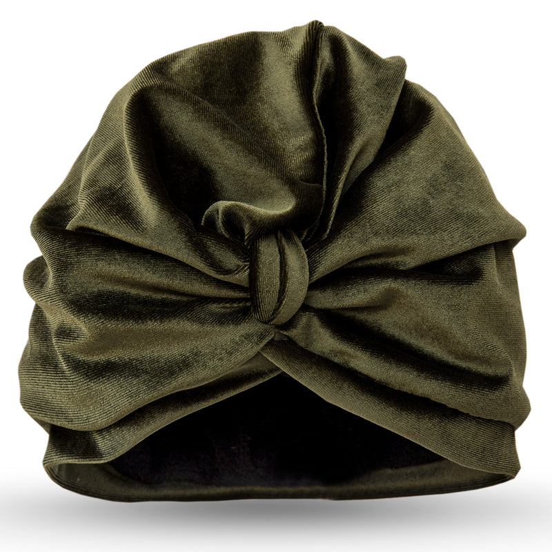 Deep green velour pull on towelling lined drying turban, with pretty gather and knotted at front