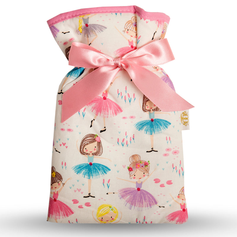Small multicoloured ballerina print cotton hot water bottle cover.  Pale pink trim and ribbon bow.  Half litre cream hot water bottle included.