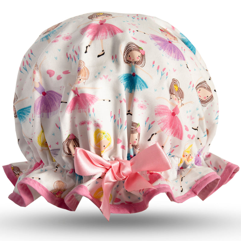 Vintage style, kid's cotton shower cap. Frilled edge, cute multicoloured ballerina print.  Trimmed in pink with matching satin bow.