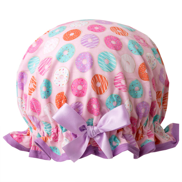 Fun vintage style, kid's cotton shower cap. Frilled edge, multicoloured doughnut print with pale pink edge and matching satin bow.