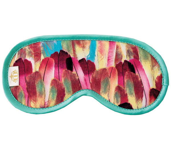 Vibrant multicoloured feather print Morrocaine fabric sleep mask.  Black velour backing and elastic. Edged in mint green.