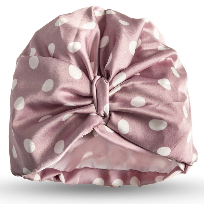 White spots on mauve satin pull on towelling lined turban, with pretty and gather and knotted at front.
