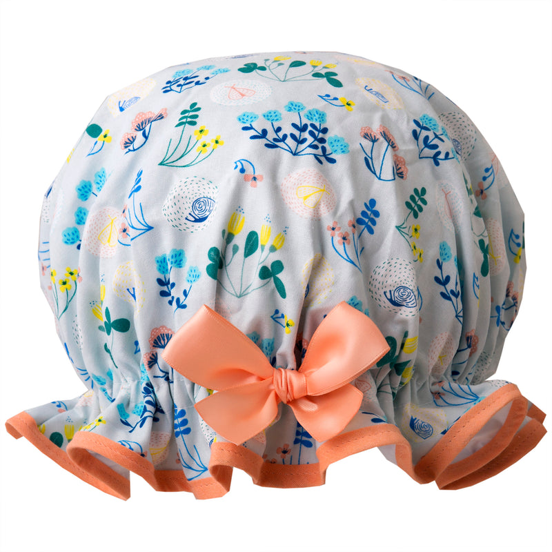 Vintage style, women's large cotton shower cap. Frilled edge, small blue, green and pink garden print with peach trim and matching satin bow.