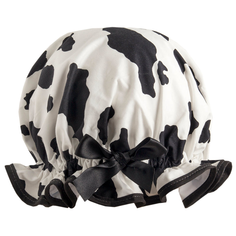 Vintage style, women's large cotton shower cap. Frilled edge, black and white friesian cow print with black trim and satin bow.