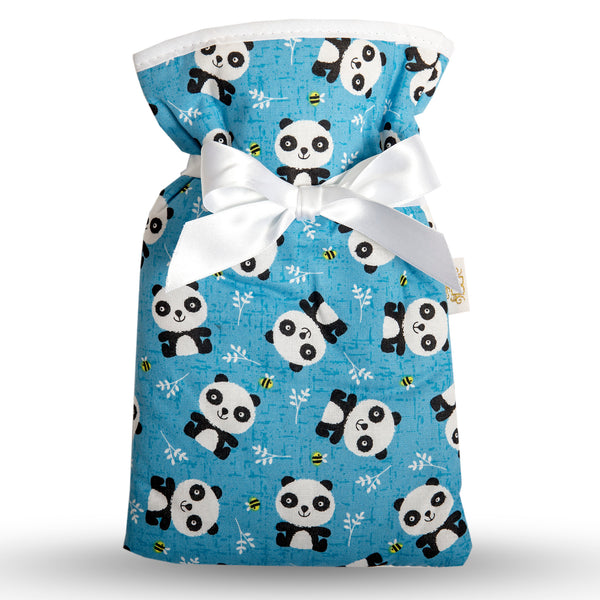 Small  cute panda print blue cotton hot water bottle cover.  White trim and ribbon bow.  Half litre cream hot water bottle included.