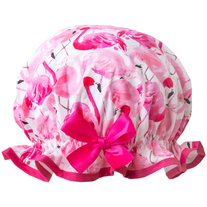 Fun vintage style, kid's cotton shower cap. Frilled edge, pink flamingo print with matching pink trim and satin bow.
