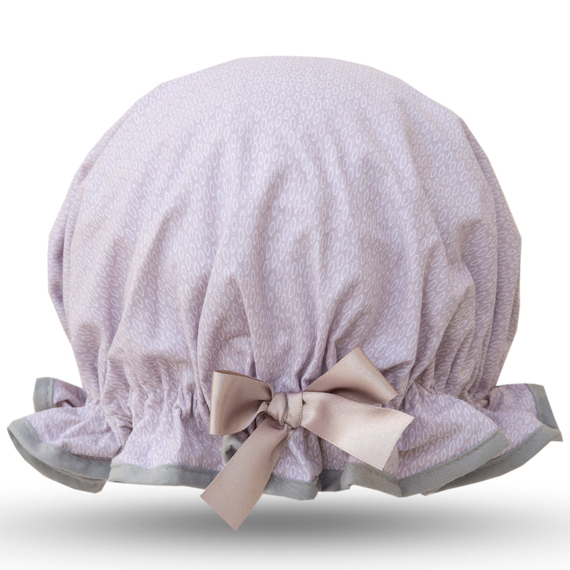 Vintage style, women's large cotton shower cap.  Frilled edge, delicate grey raindrop print with grey trim and satin bow.