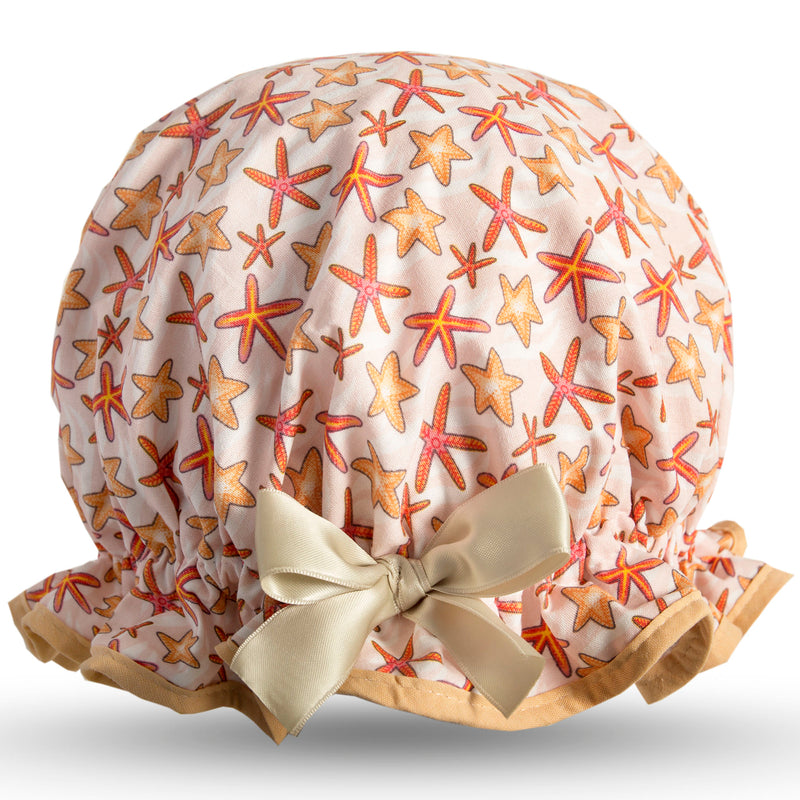 Vintage style women's large cotton shower cap.  Frilled edge, fun orange star fish print with beige trim and satin bow.