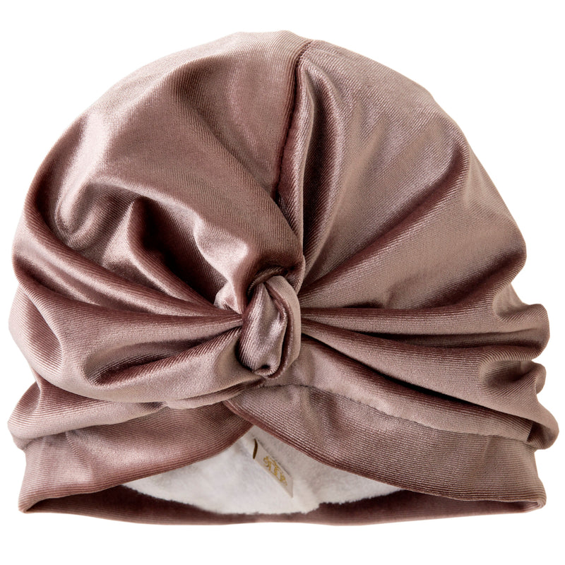 Plain pale dusky pink pull on towelling lined drying turban, with pretty gather and knotted at front.