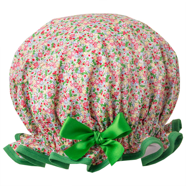 Vintage style, women's large cotton shower cap. Frilled edge, small pink, green and yellow flower print with emerald green trim and matching satin bow.