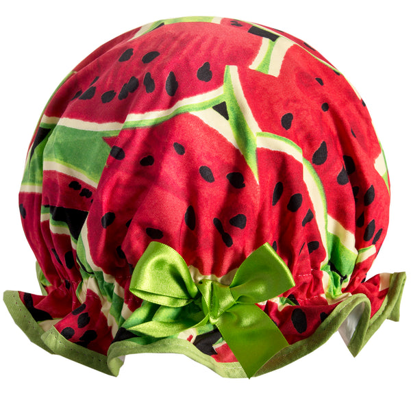 Vintage style, women's large cotton shower cap. Frilled edge, dark green and red large watermelon print. Trimmed in bright green with matching satin bow.