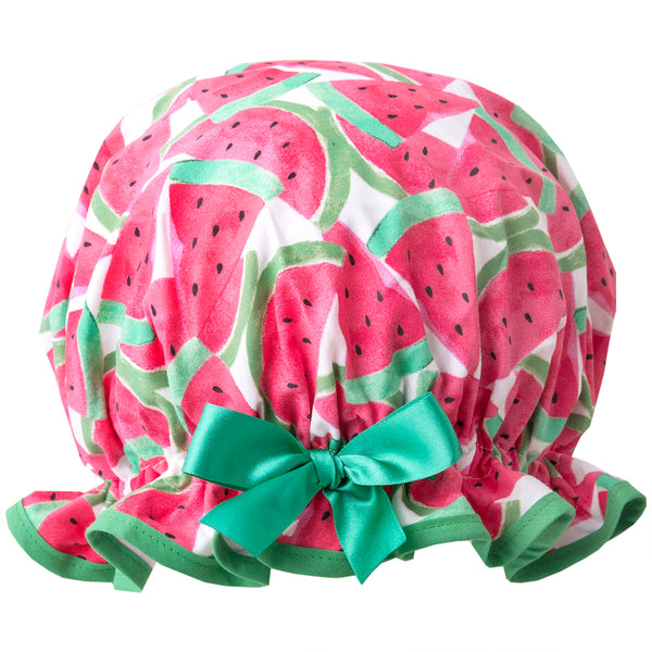 Fun vintage style, women's large cotton shower cap. Frilled edge, green and red watermelon print with grass green trim and matching satin bow.