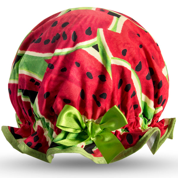 Vintage style, kid's cotton shower cap. Frilled edge, dark green and red large watermelon print.  Trimmed in bright green with matching satin bow.