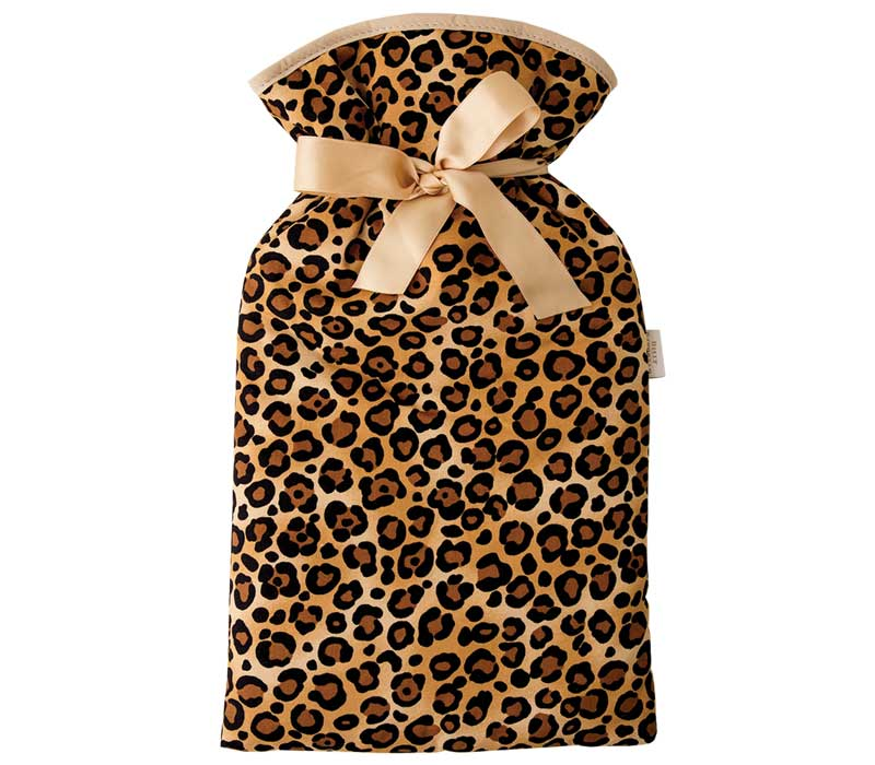 Beige, brown and black leopard print cotton hot water bottle cover.  Beige trim and ribbon bow.  2 litre cream hot water bottle included.