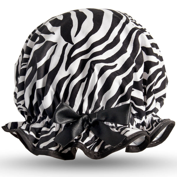 Vintage style, women's large cotton shower cap.  Frilled edge, black and white zebra print with black trim and black satin bow.