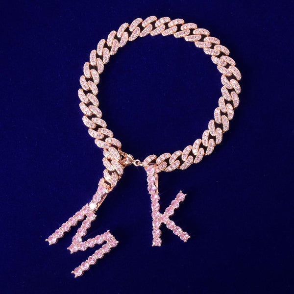Barbie Iced Letter Cuban Bracelet