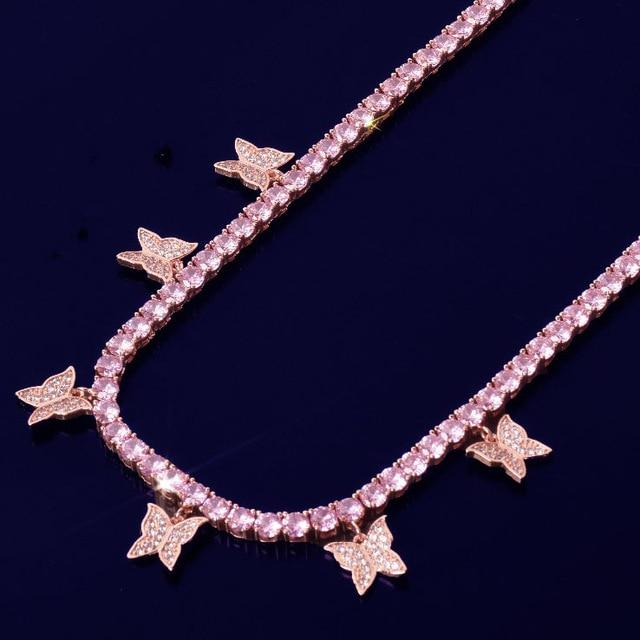 Pink Butterfly Tennis Necklace