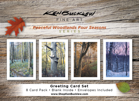 Peaceful Woodlands Four Seasons - Greeting Card Set (8 Cards and Envelopes)