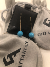 Load image into Gallery viewer, Turquoise with Gold chain Earrings 5mm beads