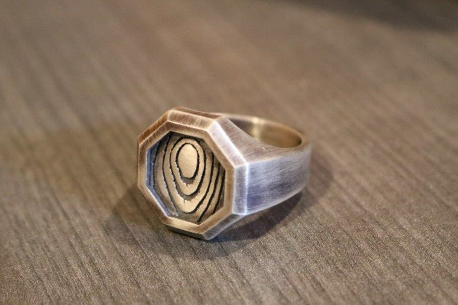 Wood Pattern Men's Ring
