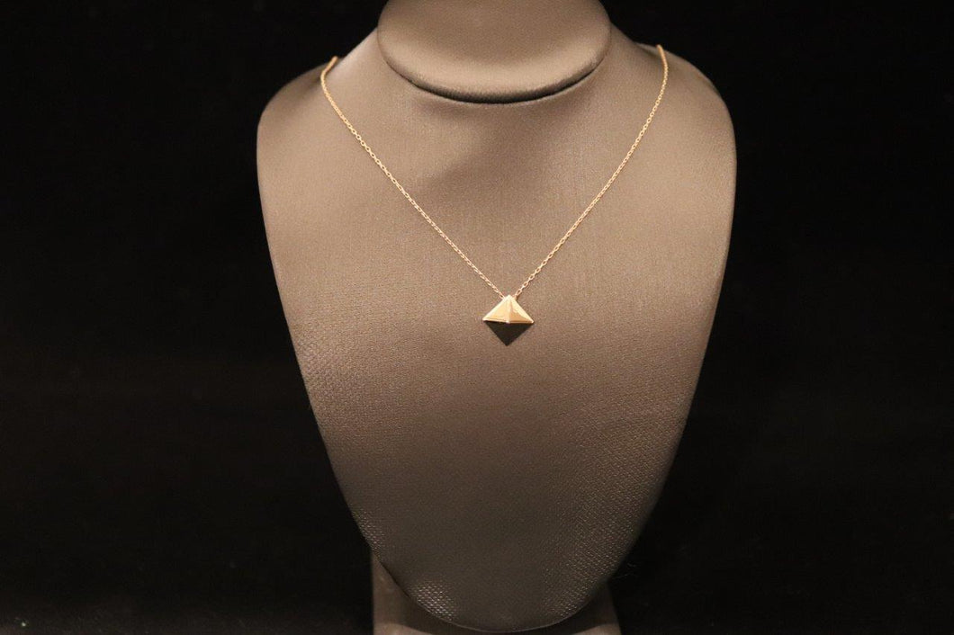 Gold Square Pyramid Pendant