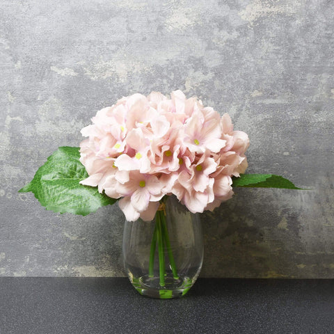 Artificial Hydrangea - In Glass Vase - Love Roobarb