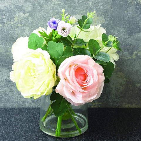 Artificial Roses - In Vase in Dusky Pink