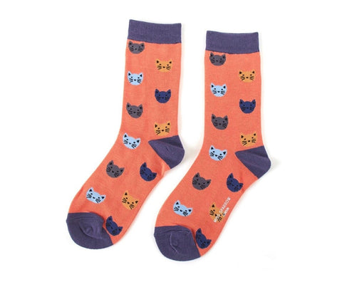 Socks - Bamboo In Orange with Kitty Face