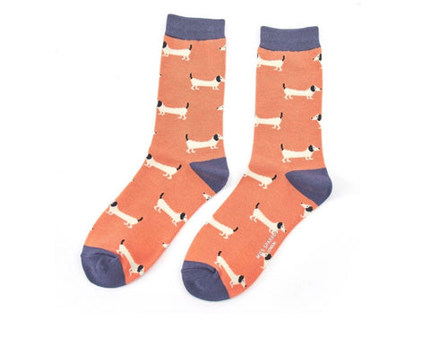 Socks - Bamboo - Dachshund Orange