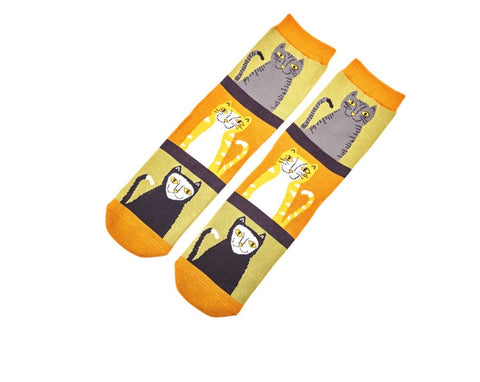Socks - Bamboo - Cats with Stripes in Olive