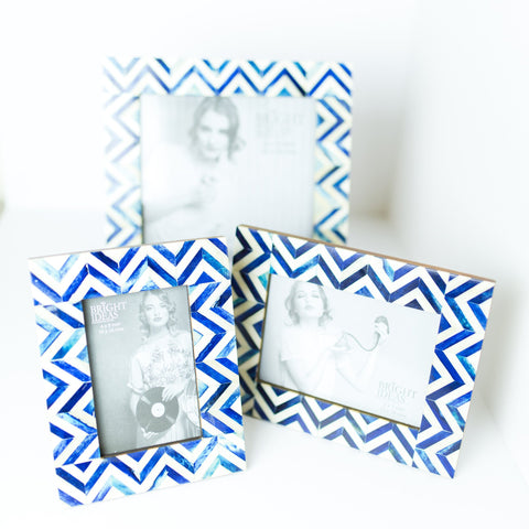 Photo Frame - Blue Chevron