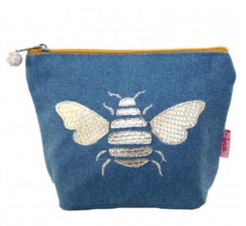 Cosmetic Purse - Blue with Bee