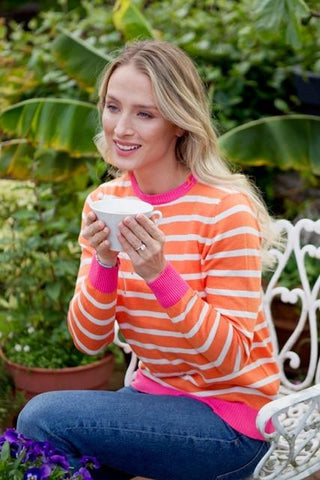 Cotton Jumper - Tangerine and Ivory