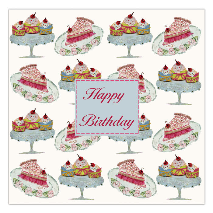 Greetings Cards Set Of Four Shoes Handbags And Cake Birthday