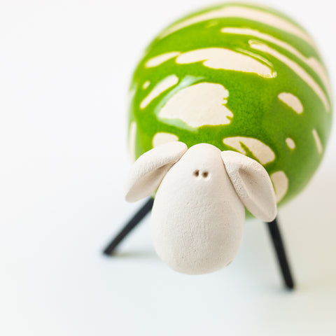 Ceramic Green Sheep - Small/Round