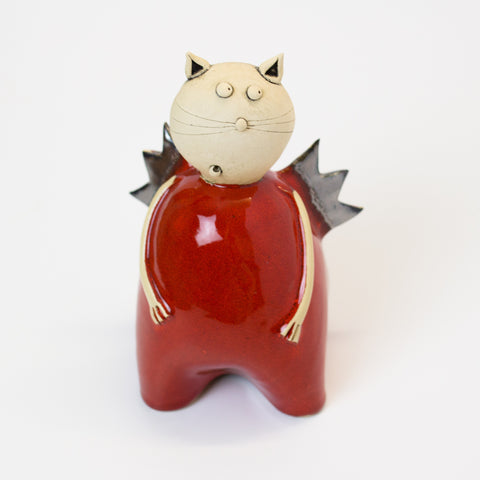 Ceramic Cat with Wings - Red